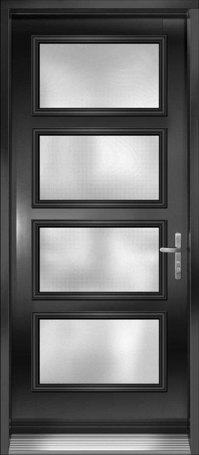 Porte d'entrée en acier avec 4 paneaux vitrées